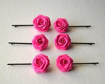 6 Hot Pink Paper Rose Hair Pins