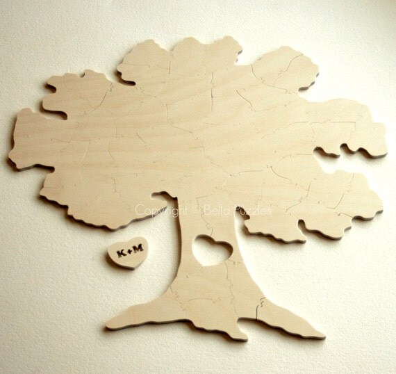 130 pc Wedding Guestbook Puzzle, guestbook alternative, wood TREE puzzle guest book, Bella Puzzles™. Rustic barn bohemian wedding.