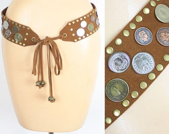 Vintage Suede Coin Studded Belt