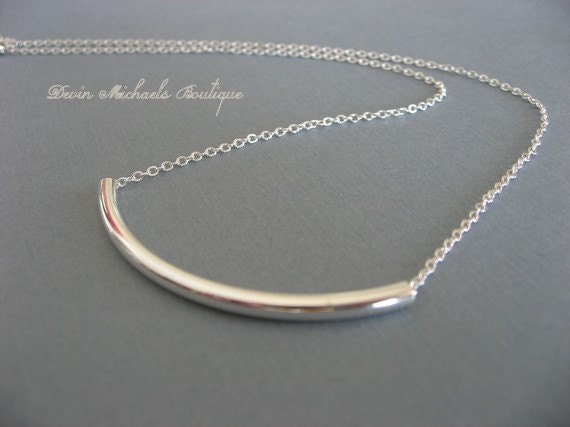 Wear with Anything Silver Tube Necklace, Silver Bar Necklace, Pendant Necklace