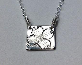 Tiny Dogwood Sterling Silver Necklace