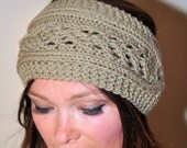 HEADBAND Earwarmer Headwrap Crochet Knit CHOOSE COLOR Taupe Beige Brown Boho Warm Flower Hat Cozy Earth Girly Romantic Gift