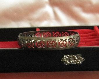 Vintage Boho Bracelet Brass Tone Metal Bangle with Butterfly Design