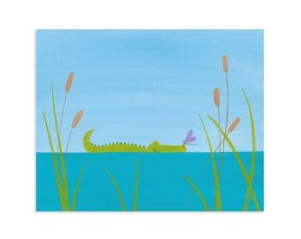Gator Nursery Art - Alligator Nursery - Alligator Print - Lake Decorations - Lake Wall Art