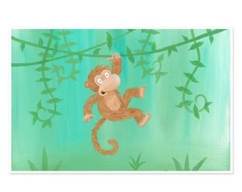 "11x17 Monkey Nursery Art Poster - ""Hanging Around"""