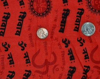 India chants Om Namah Sivaya,Text in sanskrit language on red colour Cotton Fabric,One yard SCN 4