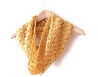 Autumn Lightweight Cowl , hand knitted lace scarf , sunny bright yellow , knit in pure wool , gift for her , clearance sale