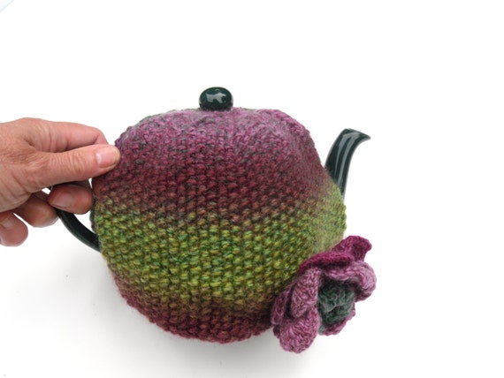 Clearance Sale, Tea Pot Cosy ,  hand knit kitchen decor , purple / green tea cosy hand knitted in 100% wool multi coloured yarn