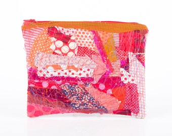 Back to School - Upcycled Crazy Modern Patchwork ,zipper pouch - Recycled  Pencil Case- Colorful Polka Dots scraps  With red  zipper