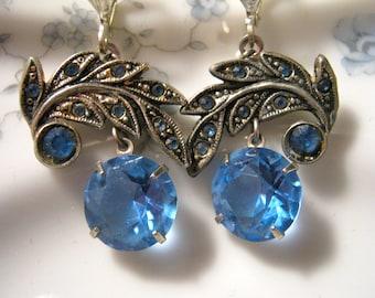 Reclaimed Vintage Earrings, Silver, Something Blue, Aquamarine, Wedding, Dangle, Upcycled, Jennifer Jones, Statement, Sapphire, Blue Eyes