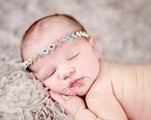 Vintage headband, Baby headband, newborn headband, trim headband, adult headband, and photo prop Faux diamond trim headband