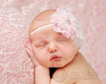 Baby headband, newborn headband, adult headband, child headband and photography prop Lacey fuzzy flower sprinkle headband