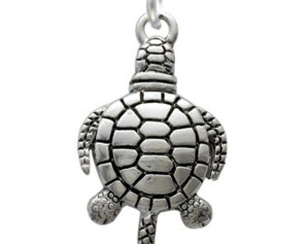 Silver Plated, Antiqued Turtle Charm, Qty: 1