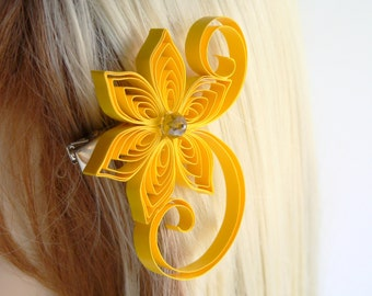 Lemon Wedding Hair Clip, Lemon Yellow Wedding Hair Accessory, Freesia Wedding
