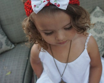Olivia Paige -Pin Up Strawberry cherries Baby girl doll bow infant/HEADBAND