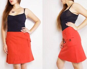 "WoozWass Vintage 80s Korean Bright Orange  wool Mini skirt by ""Twins"""
