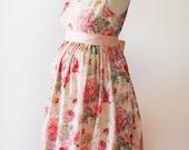Bridesmaid dress, maternity dress English Roses Dress, custom made dress, floral dress, cotton dress, vintage inspired dress