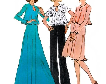 Simplicity 6663 Vintage 70s Misses' Two-Piece Dress in Two Lengths or Top Sewing Pattern - Uncut - Size 12 - Bust 34