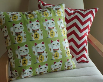 "SALE Lucky Cat Maneki Cushion/Pillow Cover 18"" (46 cm)"