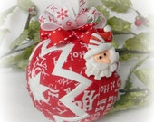 Santa Ornament Decoration Quilted Christmas Ornament red white