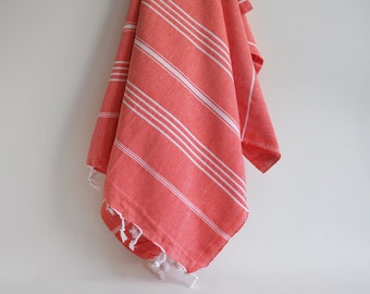 SALE 50 OFF / Turkish Beach Bath Towel / Classic Peshtemal / Red Orange / Wedding Gift, Spa, Swim, Pool Towels and Pareo