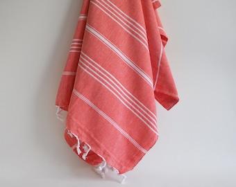 SALE 70 OFF / Turkish Beach Bath Towel / Classic Peshtemal / Red Orange / Wedding Gift, Spa, Swim, Pool Towels and Pareo