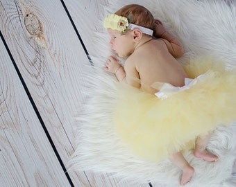 Full Sewn Pretty In Yellow Infant Tutu and Headband Set great Photo Prop