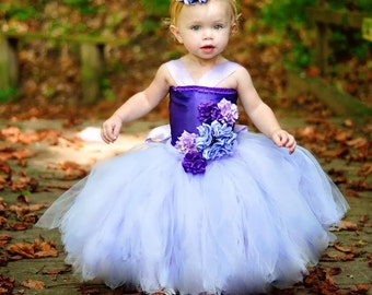 Gorgeous satin Flower Girl Tutu Dress VERY FULL 12 months to 7t Purple Other colors available
