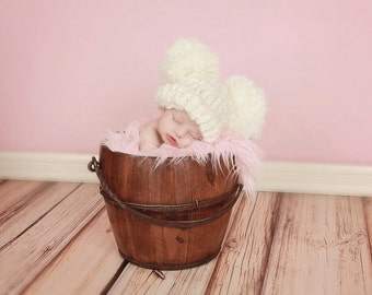 Adorable Cream Double Pom Pom Hat