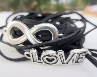 Infinity Wrap Bracelets Love and Infinity Charms and Cord for 1 (DIY)
