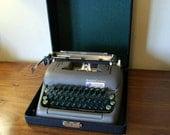 Vintage Smith Corona Silent Manual Typewriter with Original Case - Portable - Working - Gray Metal and Green Keys