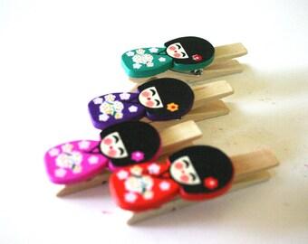 Kokeshi clips - Japanese doll clothes pin (set of 4)