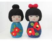 Amigurumi Japanese Kokeshi Doll Duo Set Crochet Pattern
