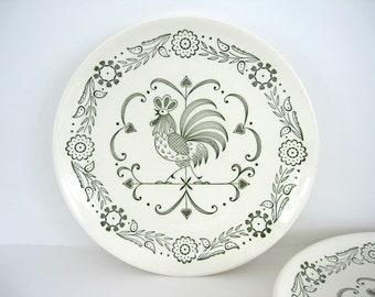 Vintage Dinner Plate Set Green Provincial Rooster Weather Vane Cottage Chic Decor