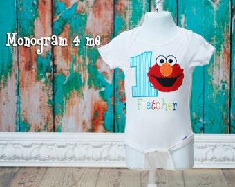 Boys 1st Birthday Elmo bodysuit Shirt, Baby Boy sesame street