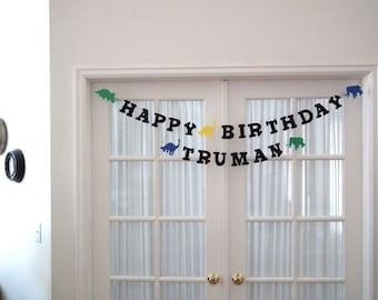 Dinosaur Happy Birthday Banner.  Triceratops.  Brontosaurus.  Mammoth. Dino.  Dinosaurs.  Banner.  Garland.  Birthday Banner.  5280 Bliss.
