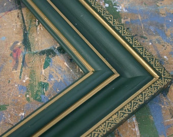 Dark Green Wooden Frame with hand painted Gold decoration