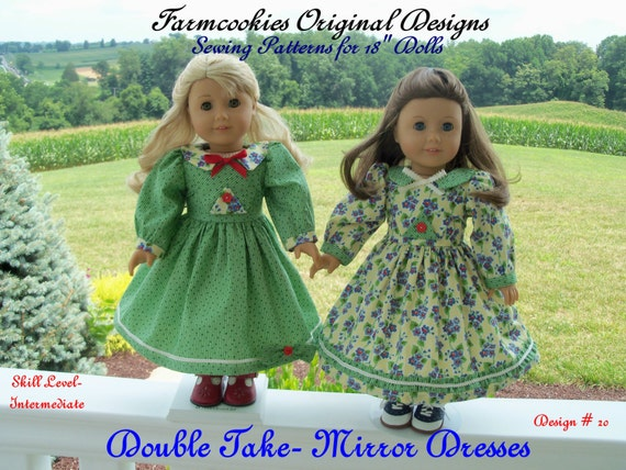 "PRINTED Sewing Pattern /1940's Mirror Dresses / Sewing Pattern  for American Girl 18"" Dolls"
