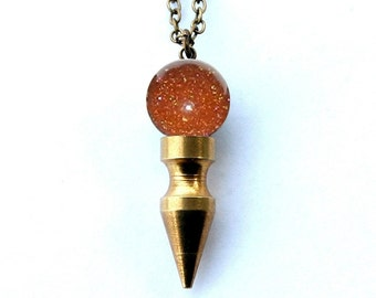 VENUS goldstone crystal ball spike necklace