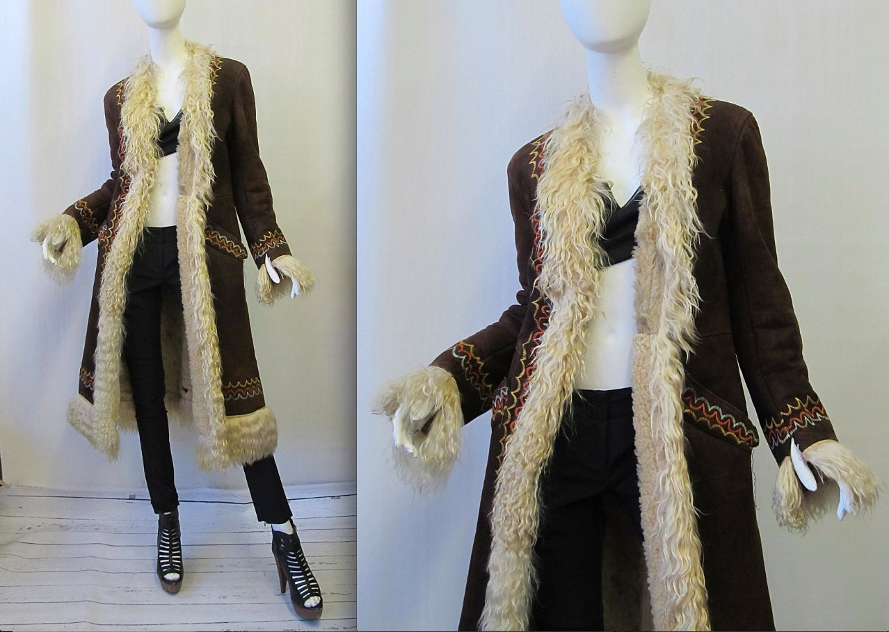 Vintage 1960&39s Turkish Shearling Embroidered Coat by lovestreetsf