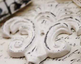 Creamy Ivory White Victorian Hook-Towel Hooks-Nursery Hook-Bathroom Bedroom Decor-Shabby Chic Home-Ornate Cast Iron-Spring Home Decor-