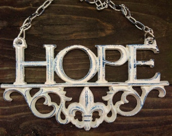 Cast Iron HOPE SIGN- Ornate Creamy Ivory-Distressed Style-Home Decor-Spring Home Decor-Wedding Gift-Front Door-Kitchen-Cottage Style