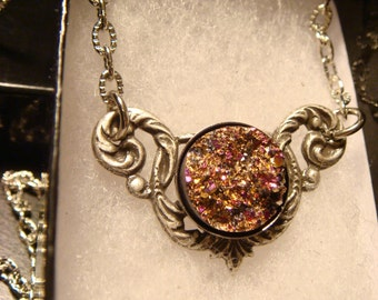 Victorian Style Pink and Gold Faux Druzy / Drusy Necklace in Antique Silver (1746)