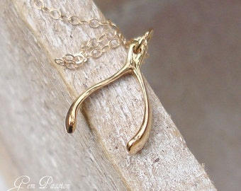 Gold Wishbone Necklace, Goodluck Charm Necklace Small Wishbone, 14k Gold Filled