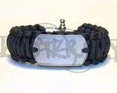 Your Info Saying Etc Dog Tag King Cobra 550 Paracord Survival Strap Bracelet with ADJUSTABLE Stainless Steel Shackle