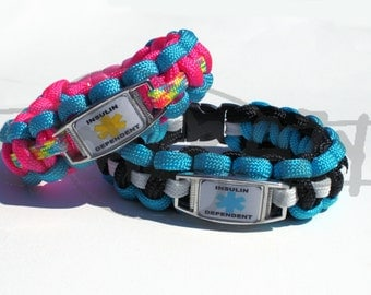 Insulin Dependent Medical Alert ID ALLOY Charm on 550 Paracord Survival Strap Bracelet with Plastic Contoured Side Release Buckle