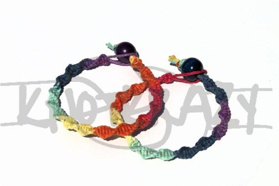 Stackable Rainbow Multi Color DNA Hemp Twist Friendship Anklet Bracelet