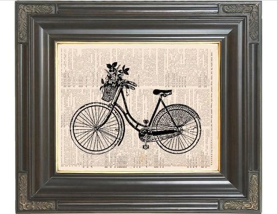 Paris Bicycle Wall Decor Print Wicker Basket Flowers