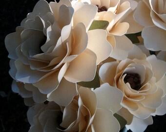 Paper Flowers - Wedding Flowers  - Anniversaries - Home Decor - Bridal Shower - Stemmed - Custom Orders - Ivory - Set of 24
