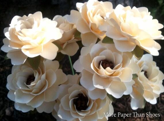 Paper Flowers - Wedding Flowers  - Anniversaries - Home Decor - Bridal Shower - Stemmed - Custom Orders - Ivory - Set of 12